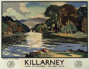 Irish Railway Travel Poster, Killarney, Ireland by Walter Till